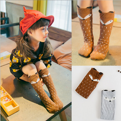 Baby Kids Toddlers Girls Fox Knee High Socks Tights Leg Warmer Stockings 0-6y'