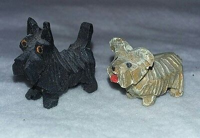 """Pair (2): Vintage 1"""" Tall Hand Carved Wooden Terrier Dogs"""