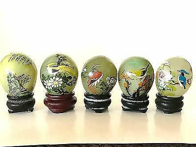 Lot Of 5 Miniature Painted Jade Eggs On Stands ~ 4 Birds & Flower ~ 1 Landscape