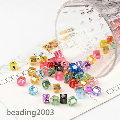 100pcs Charming Cube Acrylic Plastic Beads 8mm Craft Making Assorted Colours