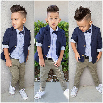 Kid Toddler Baby Boy Handsome Shirt+Blazer Suit+Pants Formal Clothes Outfit 3PCS