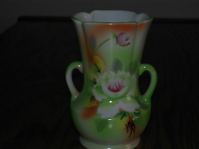 """Small Green Vase with flowers,Made in Japan  4 1/2"""" tall"""