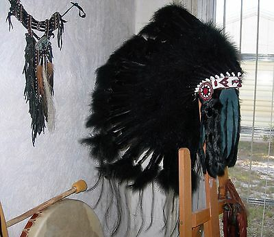 "Native American Navajo Indian 36"" War Bonnet Headdress ""BUFFALO HOGAN"" BLACK"