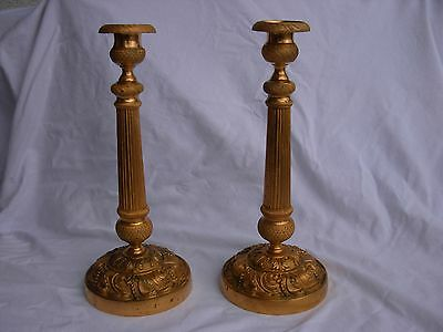 Pair Of Antique French Gilt Bronze Candle Holders,early 19 Century.