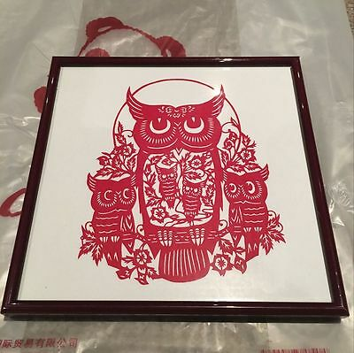 Traditional Chinese Pure Handmade paper-cut owl with happiness and wisdom wish
