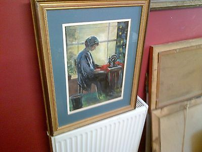 Fine 20th c,Framed and Glazed French Oil on Board.Lady Sewing Study. Signed.