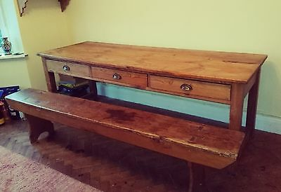 Late Victorian/Edwardian school dining table and bench