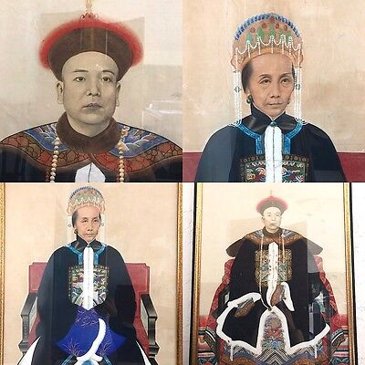 A Pair of Chinese Ancestor Portraits, Paintings, Guangzhou, China, Framed