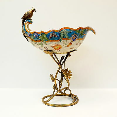 Centerpiece Fruit plate Figurine Parrot Bird Flower Art Deco Style Art Nouveau S