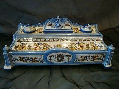Inkwell Writing case Office Renaissance Style Porcelain Ceramic
