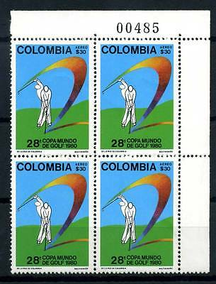 17-03-05883 - Colombia 1980 Mi.  1460 MNH 100% Block of four Golf Sport