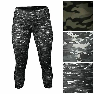 Women's Camouflage Geo Print Capri Leggings Yoga Running Skinny Military XS-2XL