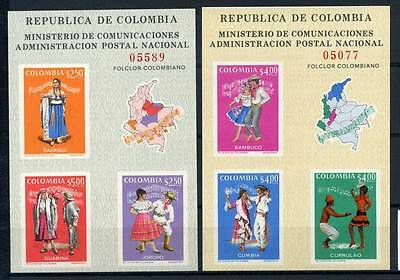 17-03-05717 - Colombia 1971 Mi.  Bl. 33-34 SS 100% MNH Folksongs Traditional cos