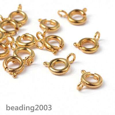 20pcs Golden Colour Tone Brass Metal Bolt Ring Clasps Spring Rings Findings 6mm