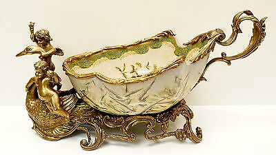 Centerpiece Fruit plate Flower Art Deco Style Art Nouveau Style Porcelain Bronze