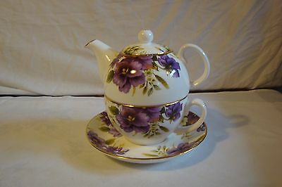 Adeline England Design China Stacking Teapot Tea Cup Purple Pansies Flowers