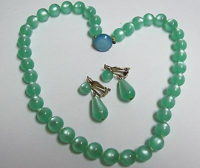 Vintage Mint Green Lucite Moonglow Necklace & Dangle Earrings