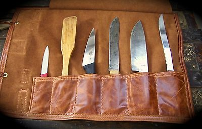 """Handmade 6 Slot Leather Chef's Knife Roll in Cognac for up to 15"""" Knives"""