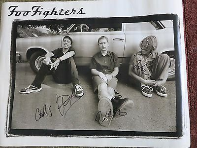 Foo Fighters signed poster by 4 coa + Proof! Dave Grohl Taylor Nate Chris autos