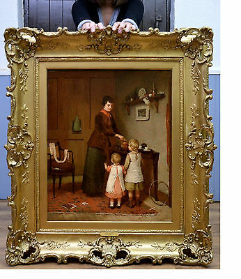 Very Fine Large 19th Century Oil Painting of Mother & Young Children at Play
