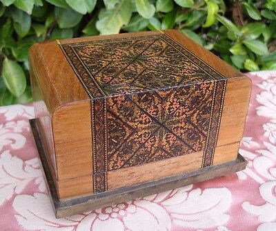 Antique Vintage Tunbridge Ware Inlaid Wooden Wood Box Treen Musical