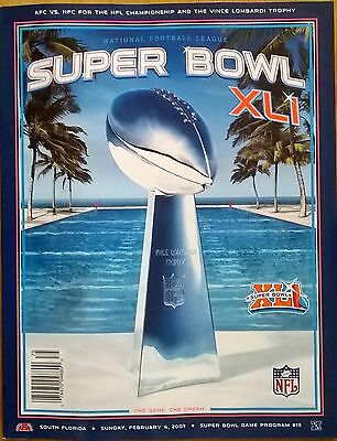Super Bowl XLI 41 NFL Indianapolis Colts vs Chicago Bears Official Programme