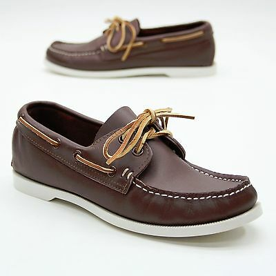 Minnetonka Ladies 7.5 Brown Leather Moccasin Loafers Slip on Boat Dock Shoes