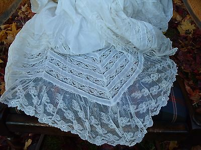 Antique Lace Skirt Victorian Costume Clothing Vintage Fine Cotton Linen