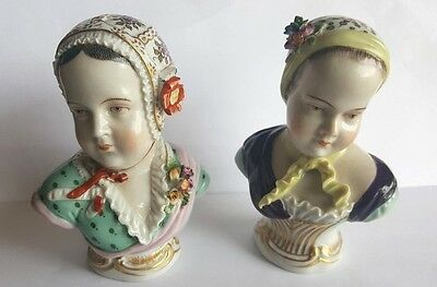 Pair of  Carl Thieme Potschappel Porcelain Handpainted Busts - Late 19th Century