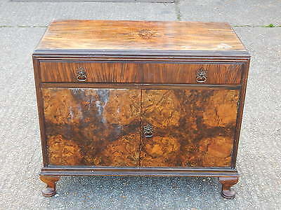 Antique type vintage walnut sideboard cabinet with drawer & double door cupboard