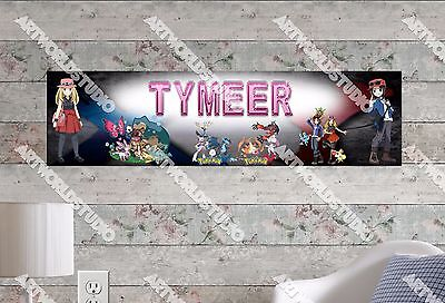 Personalized Customized Pokemon Go Name Banner Wall Decor Poster with Frame Set