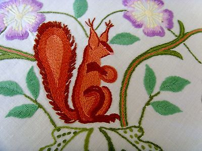 Vintage Hand Embroidered Tablecloth 4 Red Squirrels Floral Jacobean Crewelwork