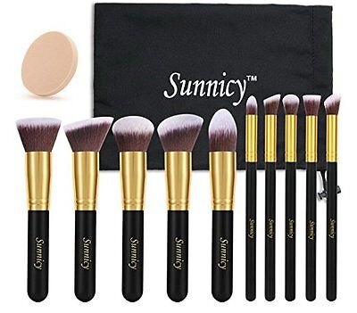 Sunnicy 10 pezzi Set premium di pennelli sintetici Kabuki per il make up