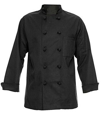 350 Chef Apparel 10 Knot Button Chef Coat-Easy-Care Twill (Black) Medium - NEW