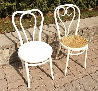 Antique Vintage Old Thonet style bentwood chair. 2 white chairs