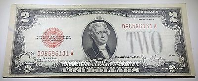 XF-AU det. 1928 U.S. Red Seal $2 Two Dollar Bill Note Antique US Currency Money