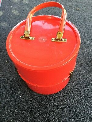 Vintage 1960's Tomato Red Plastic Mod Plastic Wig Tote Carrier Hat Box GROOVY