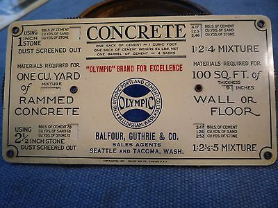 Antique 1925 BALFOUR SEATTLE LUMBER  & CONCRETE ADVERTISING MEASUREMENT CARD