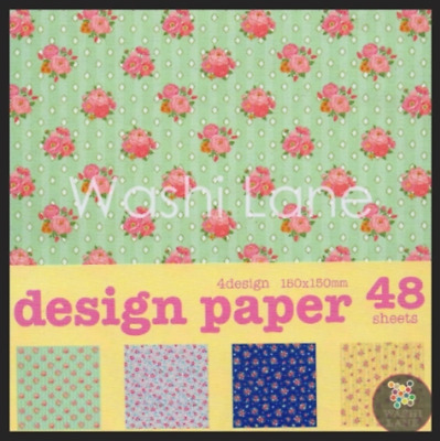 Origami Paper Pack - Vintage Floral Inspired - 48 sheets of pretty paper