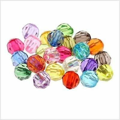 100/500PCs Mixed Acrylic Faceted Round Spacer Beads For Jewelry Making 6mm
