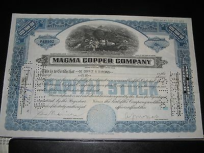 1932 Magma Copper Co. Old Capital  Stock Certificate