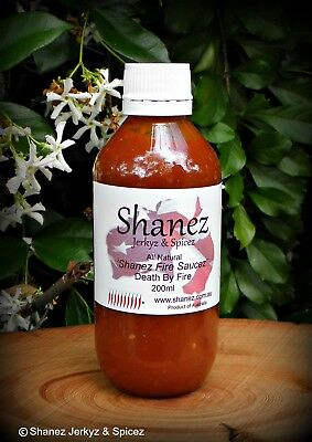 Carolina Reaper SALE 'Death by Fire'  Shanez Sauce 200ml Chilli  Free Post