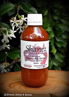 Carolina Reaper Shanez 'Death by Fire' Sauce  200ml Chilli  Free Post