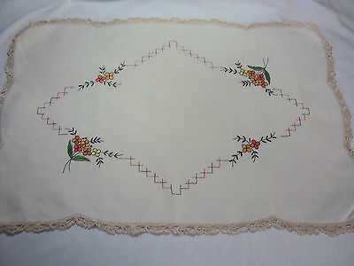 Vintage Linen & Crochet  Embroidered Doily Centrepiece/tray Cloth - 65Cm X 44Cm