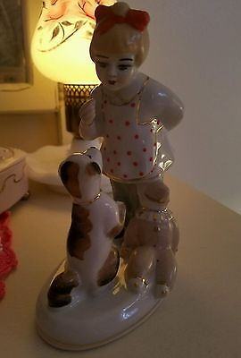 """Russian Soviet porcelain figurine """"Girl playing with dog"""" Childhood 1960's USSR"""