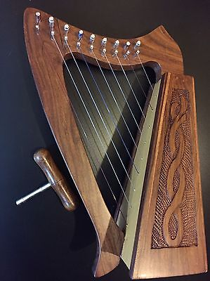 MINI HARP 9 Nylon Strings Made Of Solid Wood Engraved Celtic Design.