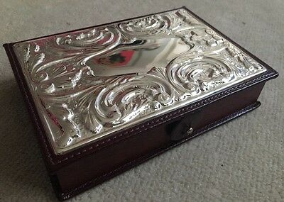 Wooden Silver Plated Jewellery Trinket Desk Box Gift New Leather Present BNIB