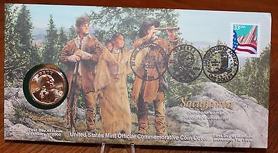 Sacagawea US Mint First Day of Issue Coin and Commemorative Coin Cover w Display