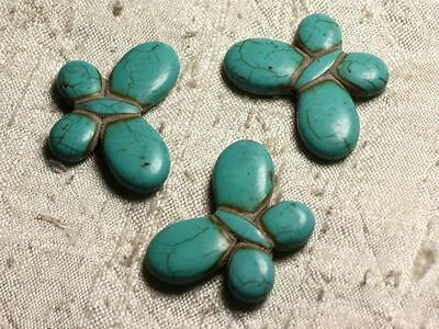 4pc - Perles Turquoise synthèse Papillons 35x25mm Bleu Turquoise