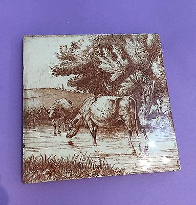 MINTON TILE  WILLIAM WISE COWS IN THE STREAM 1879 Animals in the farm series